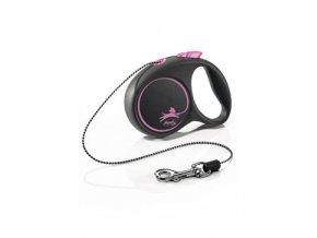 Vodítko FLEXI Black Design XS lanko 3m/8kg růžová NEW