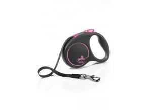 Vodítko FLEXI Black Design S pásek 5m/15kg růžová NEW