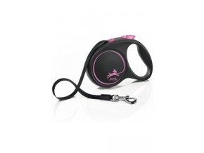 Vodítko FLEXI Black Design M pásek 5m/25kg růžová NEW