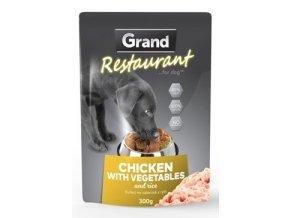 GRAND kaps. deluxe pes Restaur. 100% kuřecí, zel. 300g