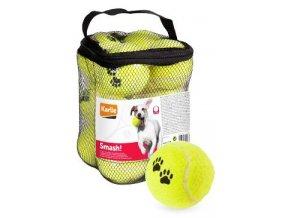 Hračka pes Tenisové míčky 12ks 6cm žlutá KAR