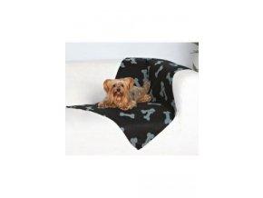 Deka pro psy BEANY černá a šedé kosti 100x70cm TR