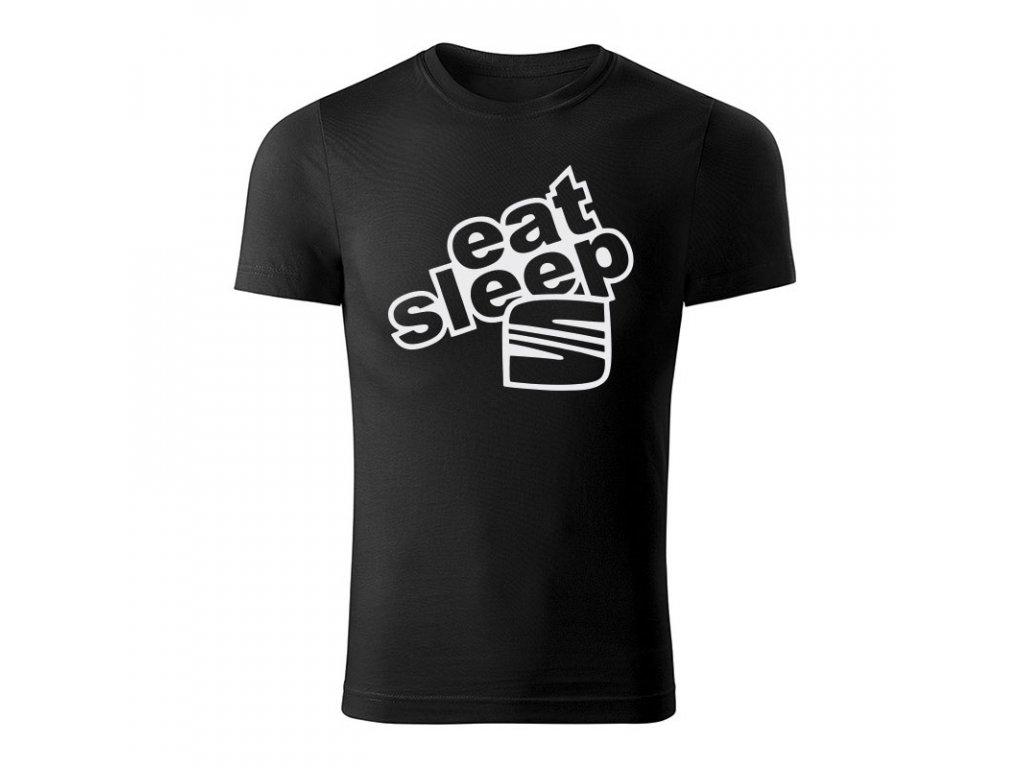 eat sleep seat panske tricko 180 g m2 biela cierna