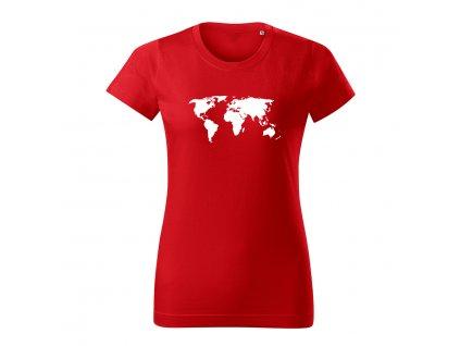 svetova mapa damske tricko 2 cervena