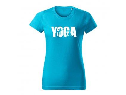 yoga damske tricko 2 tyrkysova