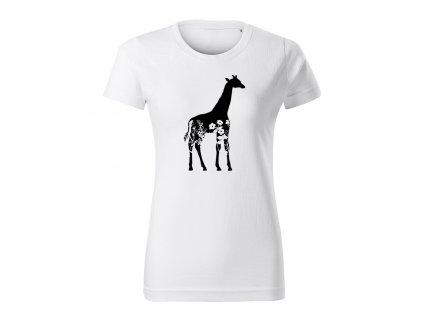 zirafa flor dámske tričko 1 biela