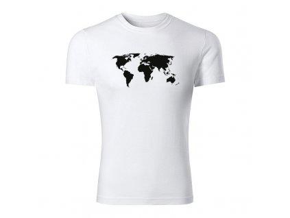 world map panske tricko biela