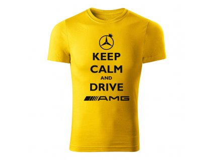 keep calm and drive amg panske tricko zlta