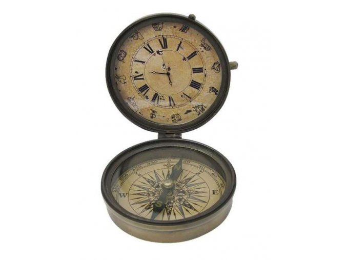 Kompas mosazný s hodinami