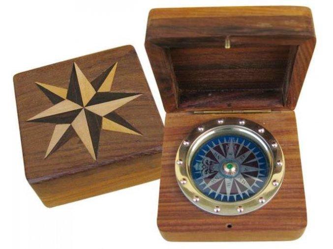 Kompas v dřevěné krabičce 9279