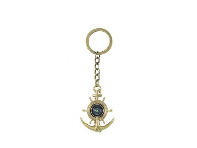 Přívěšek na klíče kotva, kormidlo, kompas