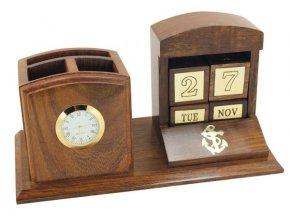 Stojan na tužky s hodinami a kalendářem