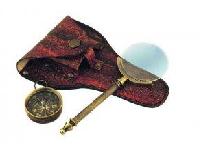 Lupa v koženém pouzdře s kompasem