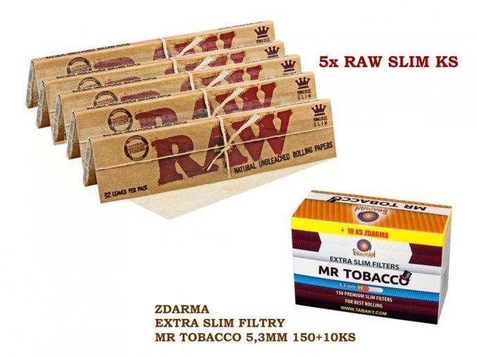 5x RAW Classic Slim KS + zdarma Extra slim filtry MR TOBACCO