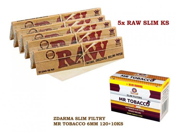 5x RAW Classic Slim KS + zdarma Slim filtry MR TOBACCO