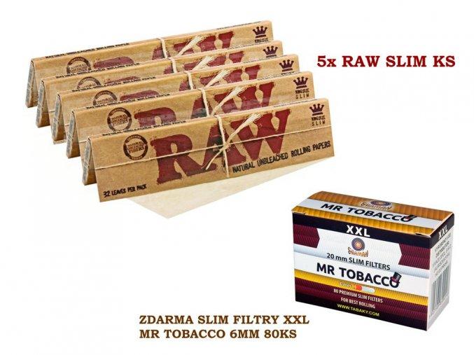 5x RAW Classic Slim KS + zdarma Slim filtry XXL MR TOBACCO