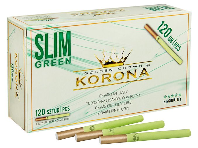 SLIM dutinky Korona 120 GREEN + GOLD FILTER - filtr 18mm