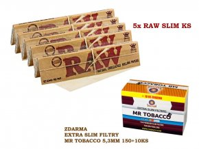 5x RAW Classic Slim KS + zdarma Extra slim filtry MR TOBACCO