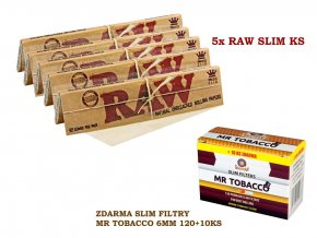 5x RAW Classic Slim KS + zdarma Slim filtry MR TOBACCO