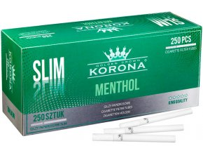 SLIM bílé dutinky Menthol Korona 250 - filtr 18mm