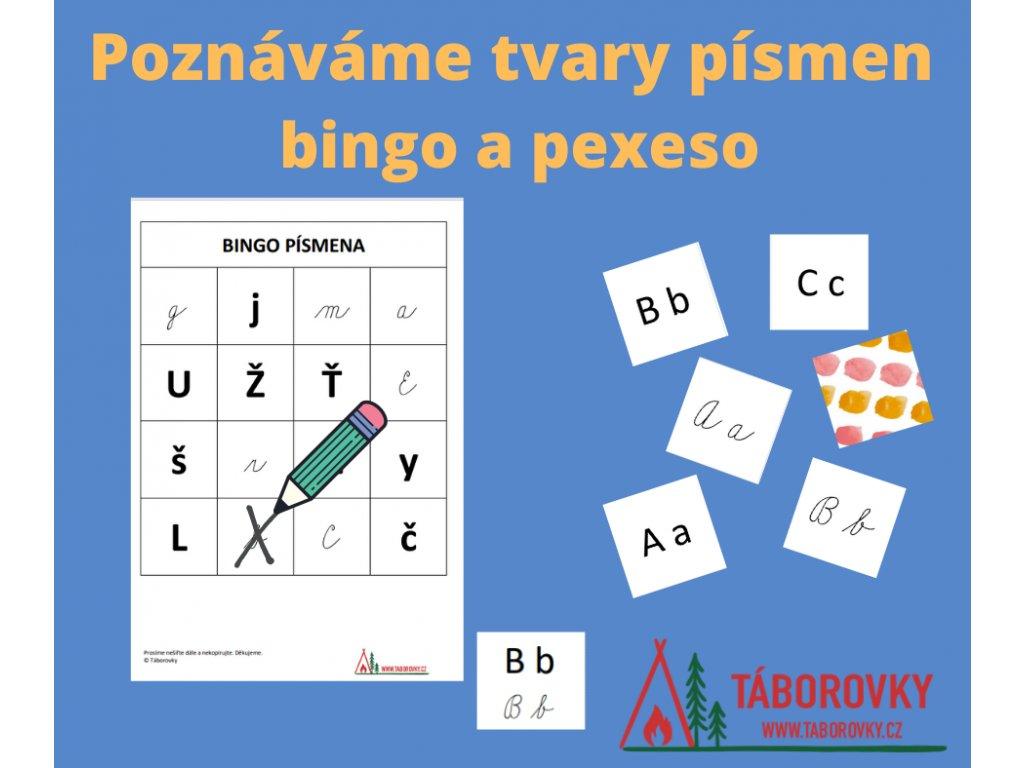 Poznáváme tvary písmen - bingo a pexeso