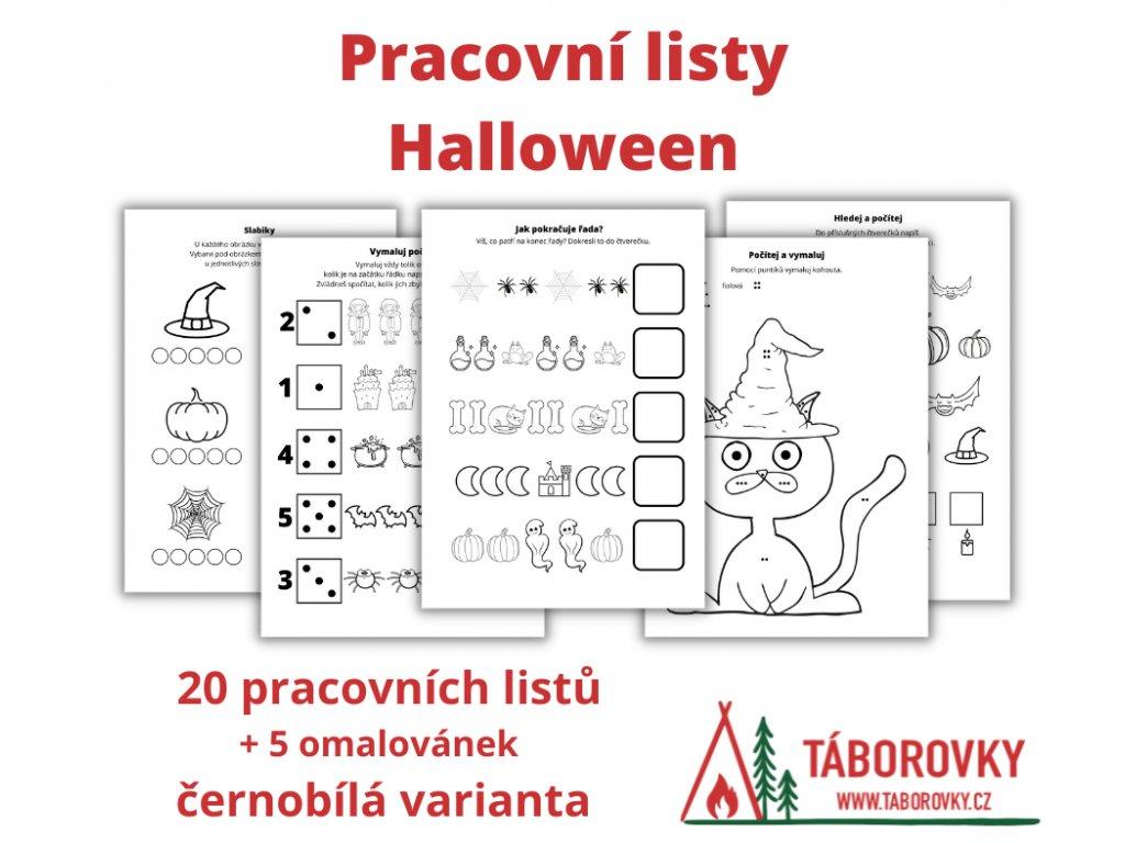 Pracovní listy Halloween - černobílé