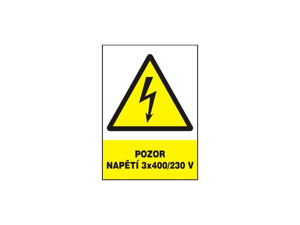 Pozor - napětí 3x400/230 V