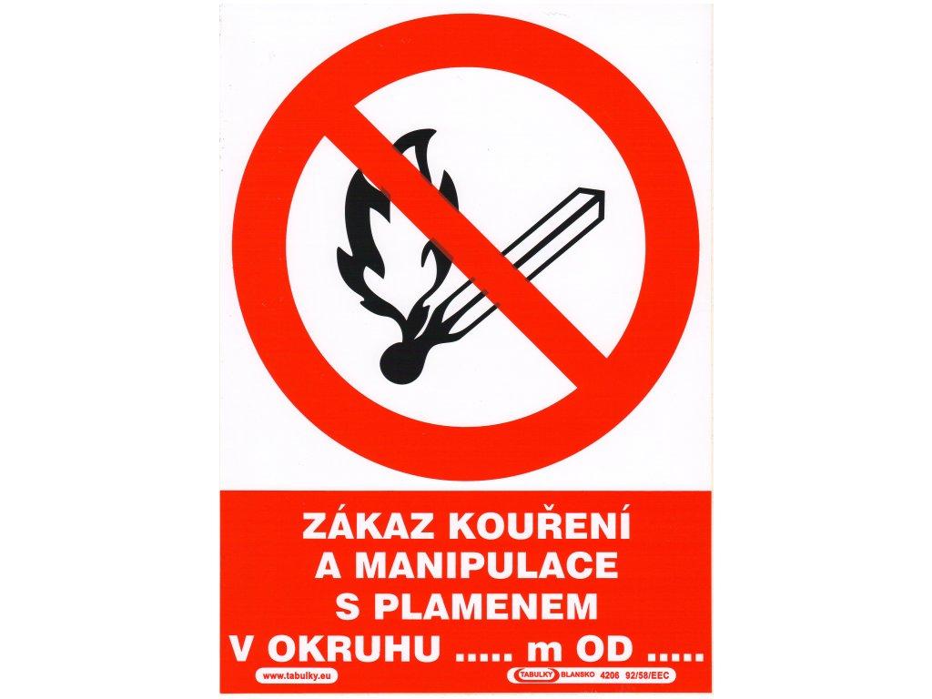 Zákaz kouření a manipulace s plamenem v okruhu ..m od…