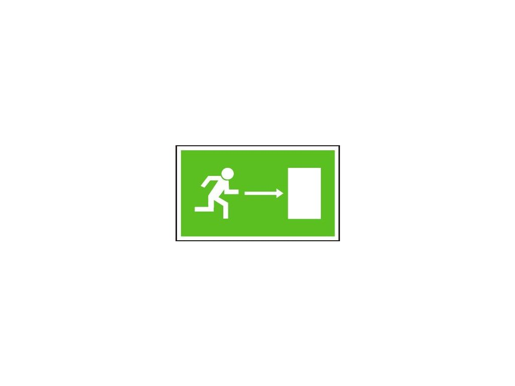 Symbol -únikový východ vpravo - bezpečnostní tabulky