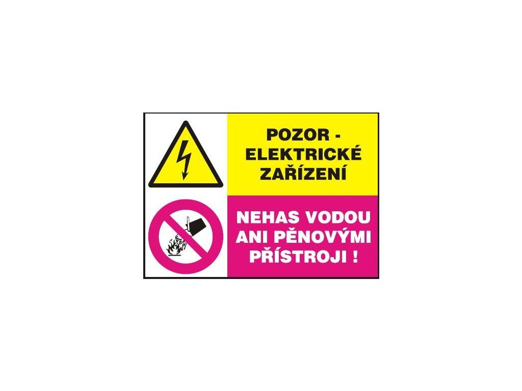 Pozor- elektrické zařízení  Nehas vodou ani pěnovými přístroji!