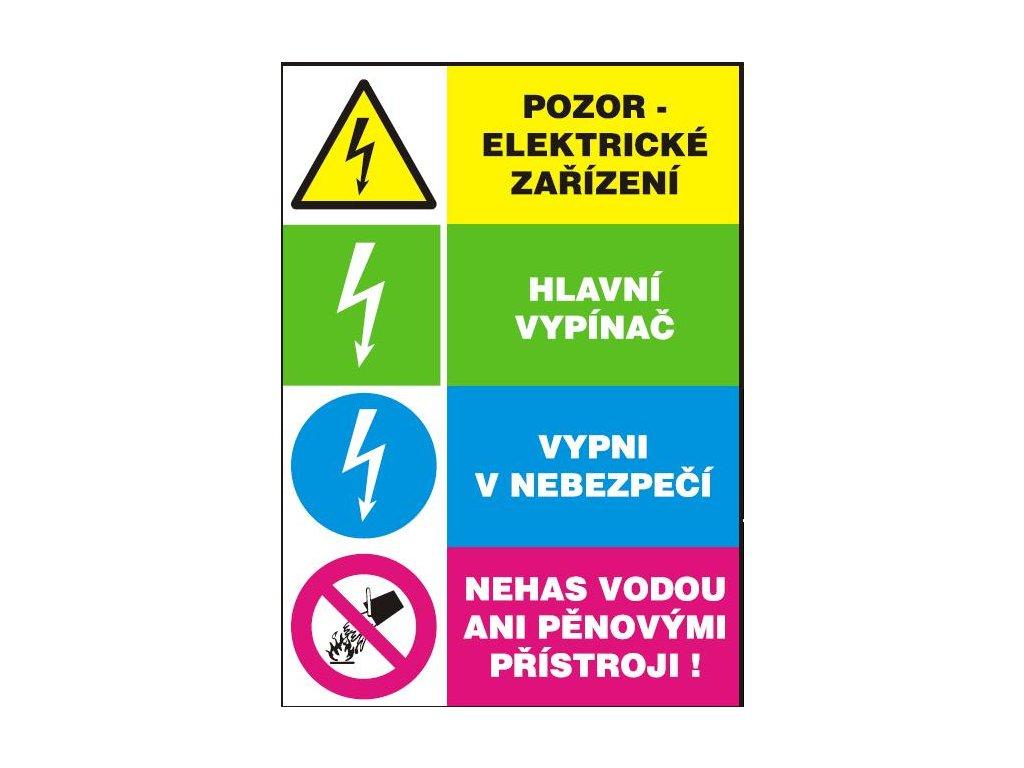 Pozor elektrické zařízení  Hlavní vypínač  Vypni v nebezpečí  Ne