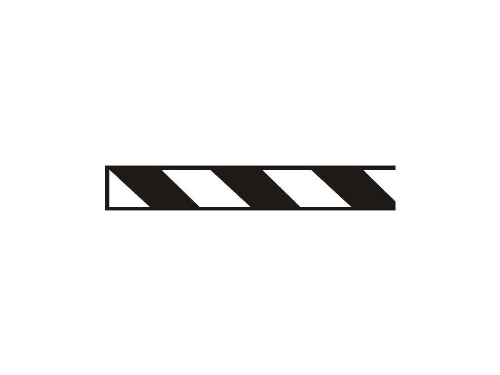 Samolepící pás černě šrafovaný - protisměrné provedení