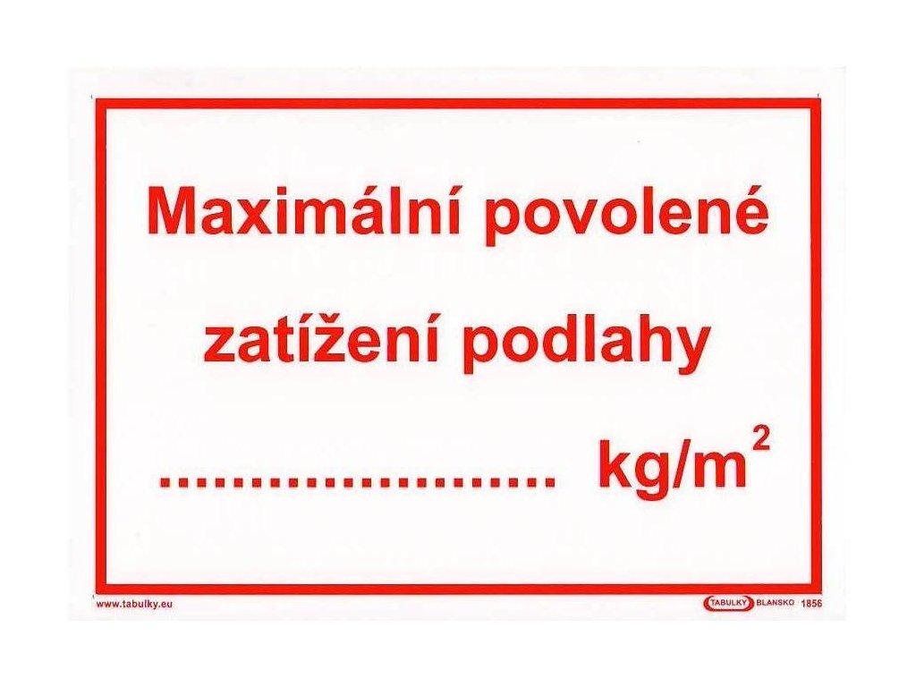 Maximální povolené zatížení podlahy ... kg/m2