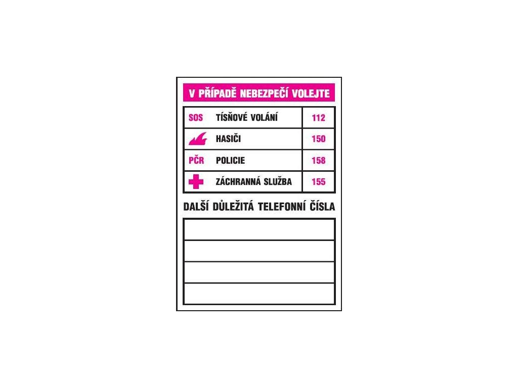 V případě nebezpečí volejte (tabulka důležitých telef. čísel)