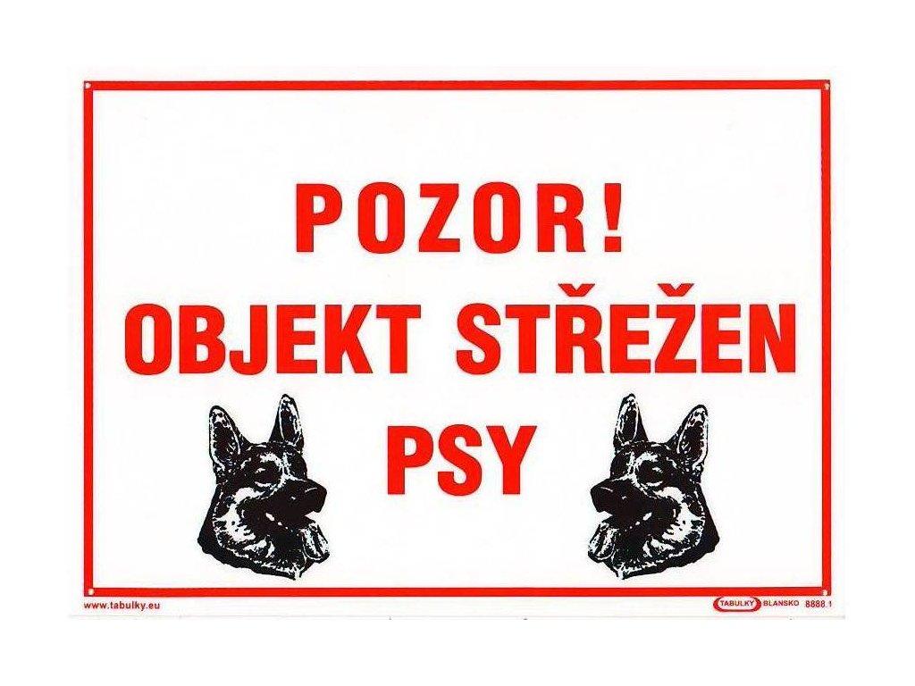 Pozor - Objekt střežen psy - A4