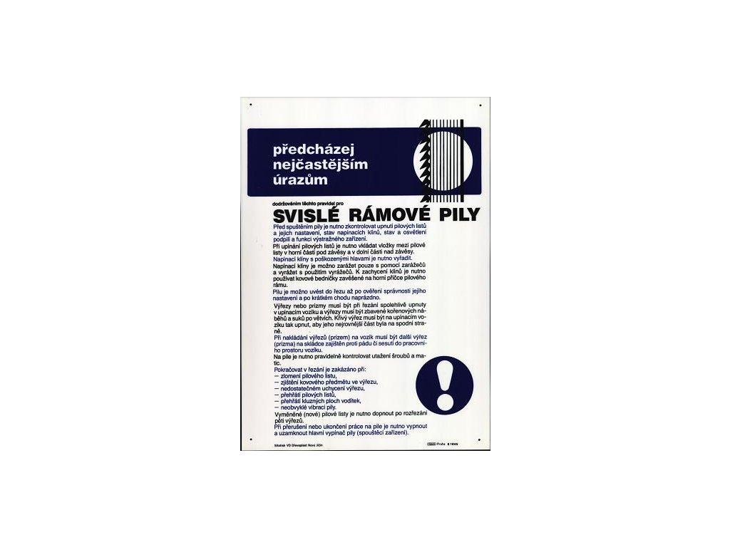 Pravidla bezpečné práce pro svislé rámové pily