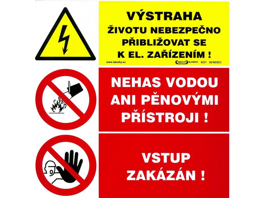 Výstraha - životu nebezpečno přibližovat se -  Nehas vodou - Vstup zakázán
