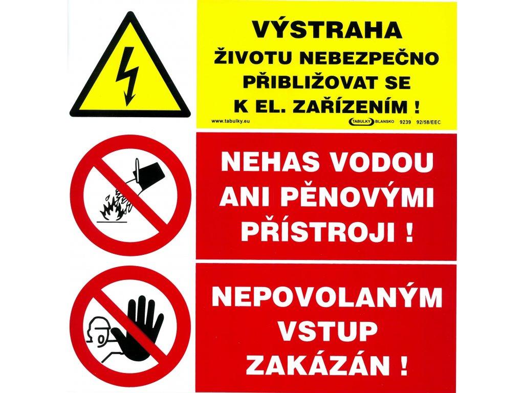 Výstraha - životu nebezpečno přibližovat se - Nehas vodou - Nepovolaným vstup zakázán