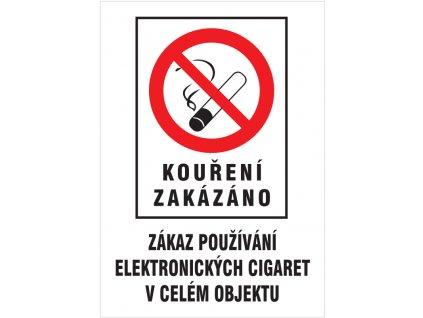 Kouření zakázáno - Zákaz používání el. cigaret v celém objektu