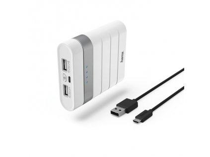 Hama Soft Touch powerbanka, 10400 mAh, biela 1