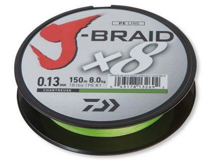 Daiwa J-Braid X8 150m chartrouse (Průměr 0,10mm 6kg)