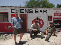 from left - James (germany), Keeh Miin Chen (friend from Taiwan), Charly Werner - in north Namibia