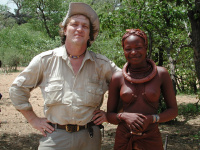 Charly with friendly girl in Kaokoland, Namibia