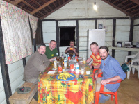 from left Jura, Ladislav Miko (former Minister of the Environment in Czech Rep.), Alex, Robert and Dan, here at dinner in Säul, French Guyana