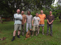 from left , Laco, Jura, Dan, chief ranger from Säul N.P., Robert and Aleš, last day in forest…