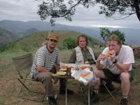 from left Dan Bárta, Charly and Robert Lízler, dinner in Swaziland