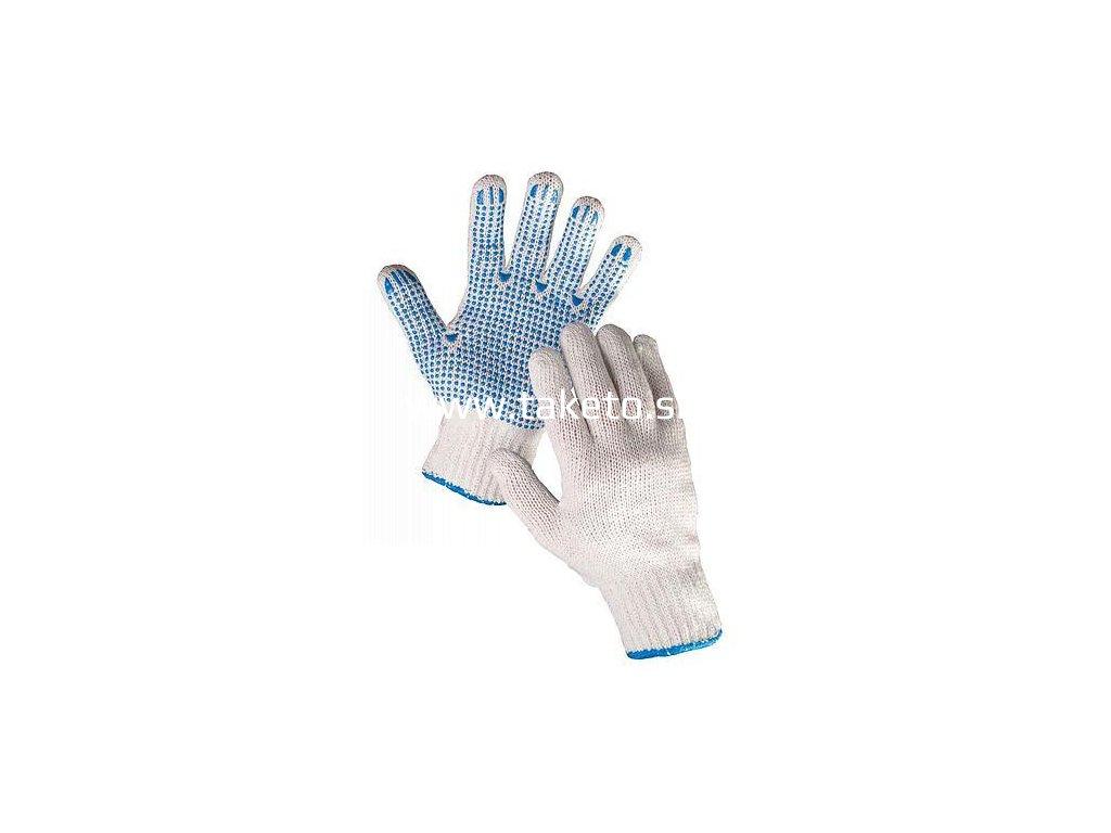 Rukavice PLOVER 10, pletené, polyester, PVC terčíky, s blistrom  + praktický pomocník k objednávke