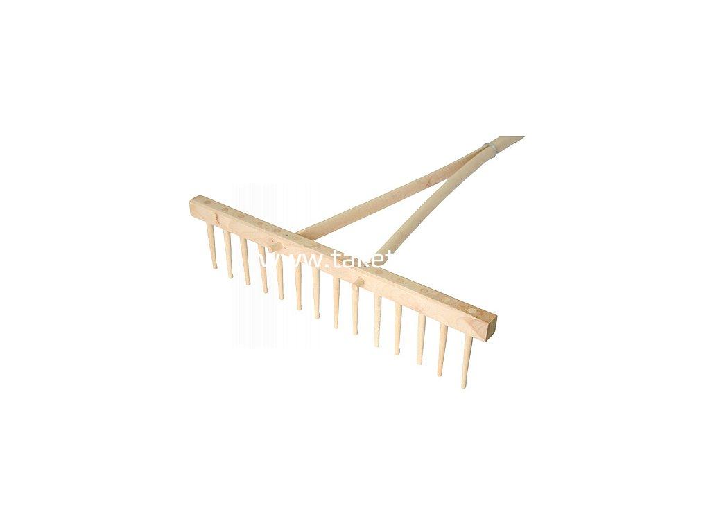 Hrable drevené 16 zubé, s násadou  + praktický pomocník k objednávke
