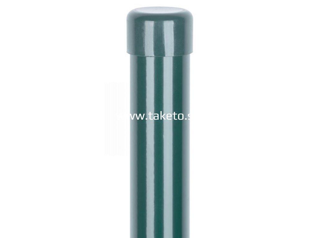 Stĺpik Strend Pro METALTEC, okrúhly, čiapočka, zelený, Zn+PVC, RAL6005, 48/2500/1,50 mm  + praktický pomocník k objednávke