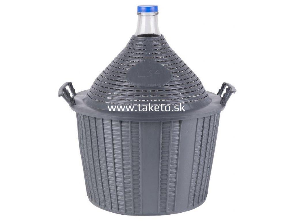 Demižón Strend Pro Cada Inco, sklo/plast, 34 lit., 570x460/355 mm  + praktický pomocník k objednávke